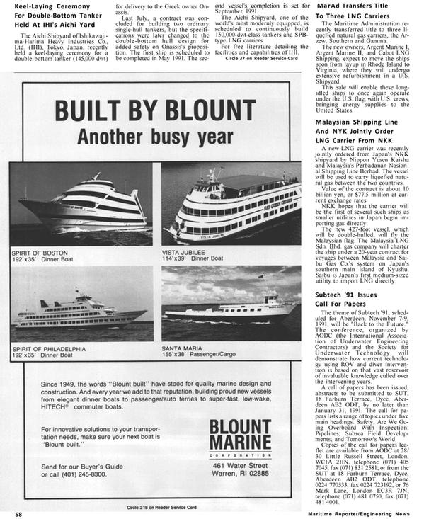 Maritime Reporter Magazine, page 54,  Jan 1991 Mark Lane