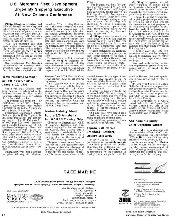 Maritime Reporter Magazine, page 56,  Jan 1991 Jack Breshears