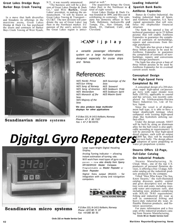 Maritime Reporter Magazine, page 58,  Jan 1991 Florida