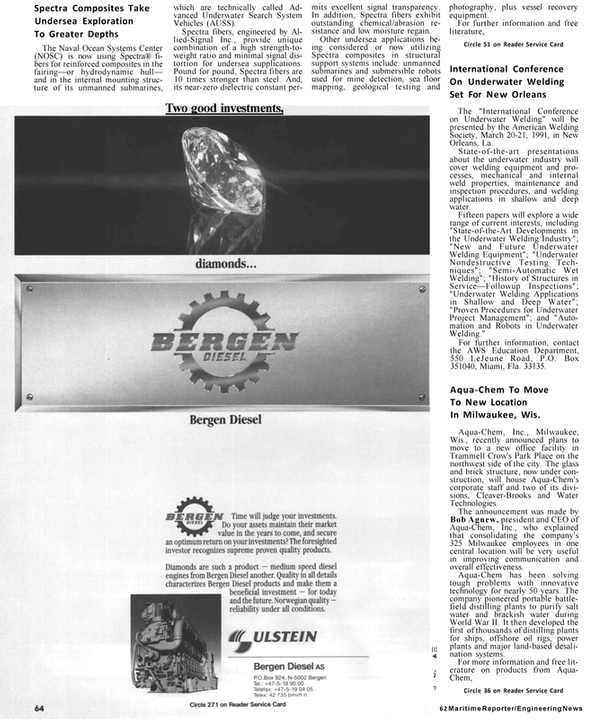 Maritime Reporter Magazine, page 60,  Jan 1991