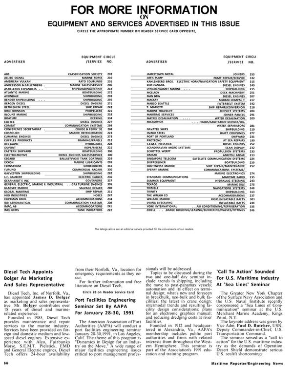 Maritime Reporter Magazine, page 62,  Jan 1991