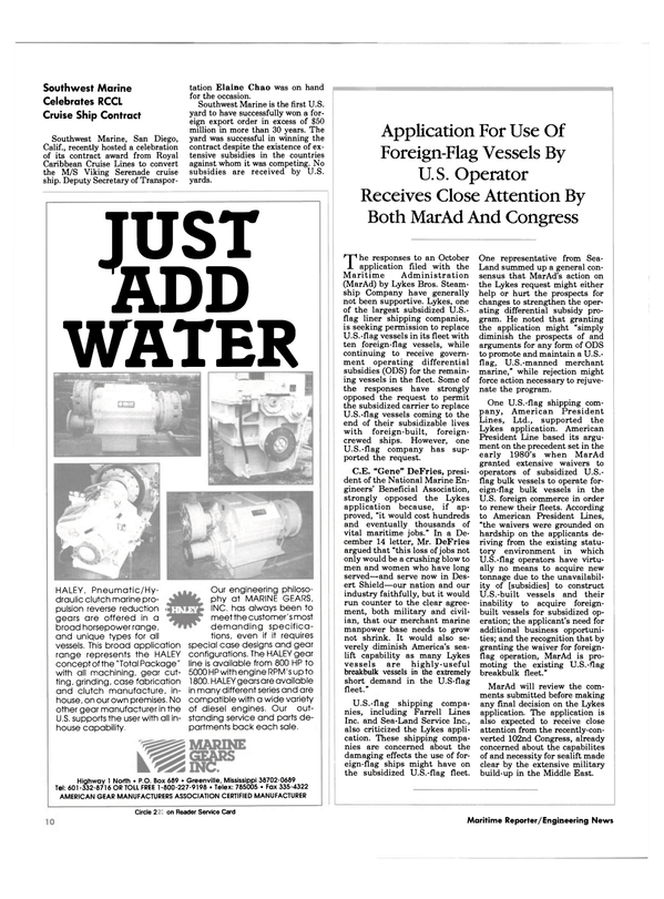 Maritime Reporter Magazine, page 8,  Feb 1991 Mississippi