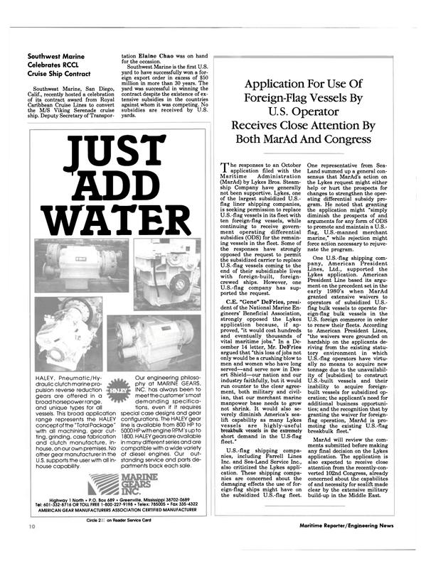Maritime Reporter Magazine, page 8,  Feb 1991
