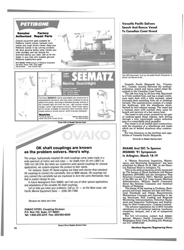 Maritime Reporter Magazine, page 14,  Feb 1991