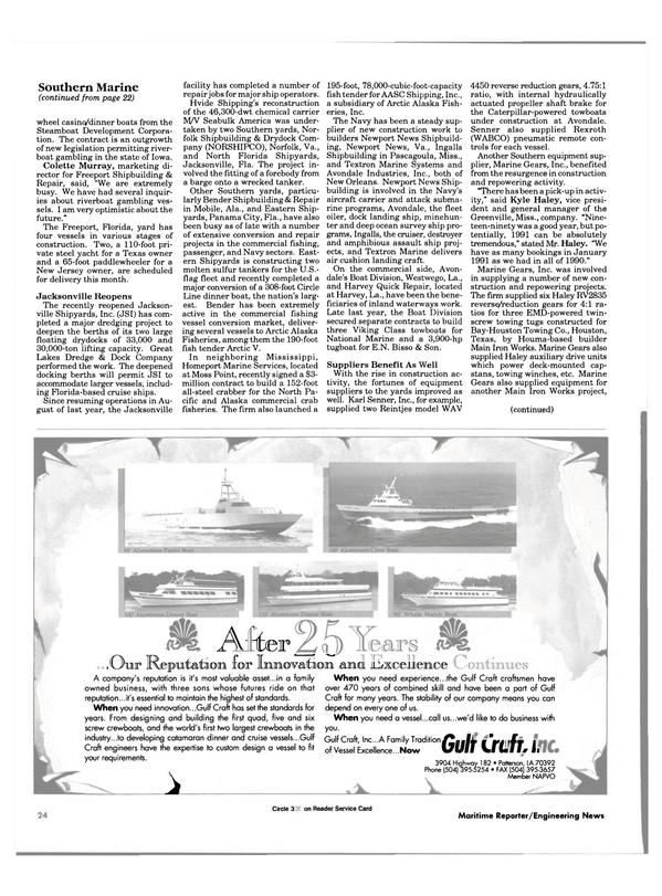 Maritime Reporter Magazine, page 22,  Feb 1991 Louisiana