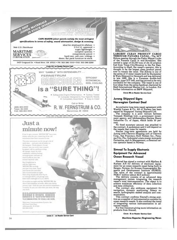 Maritime Reporter Magazine, page 54,  Feb 1991