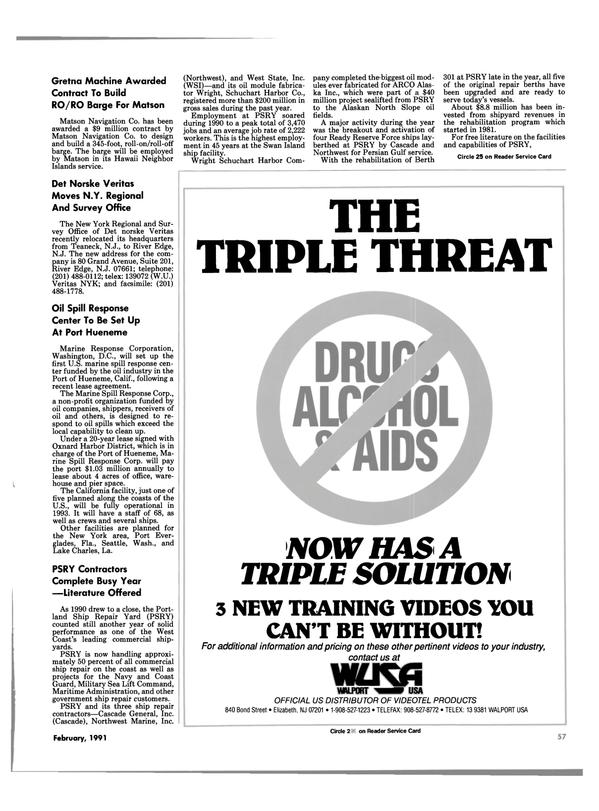Maritime Reporter Magazine, page 55,  Feb 1991