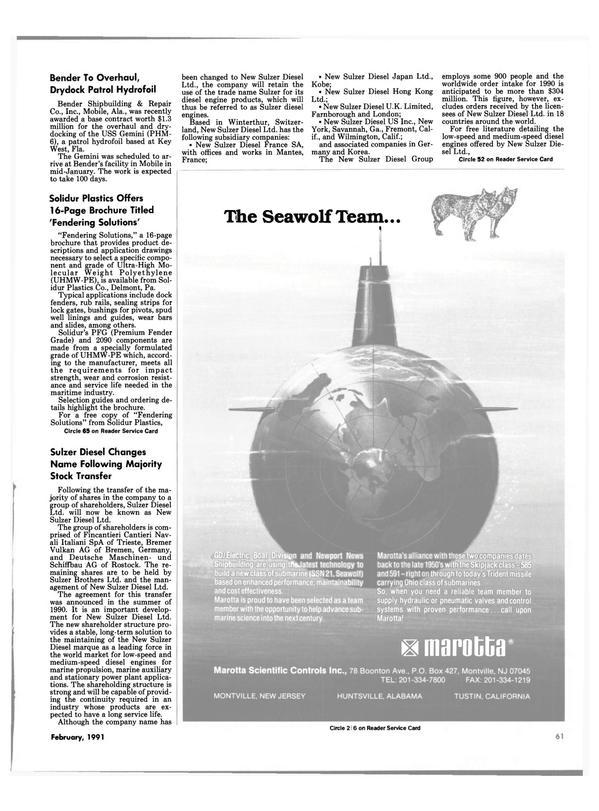Maritime Reporter Magazine, page 59,  Feb 1991