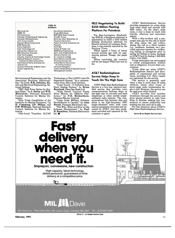 Maritime Reporter Magazine, page 65,  Feb 1991 the Business Times