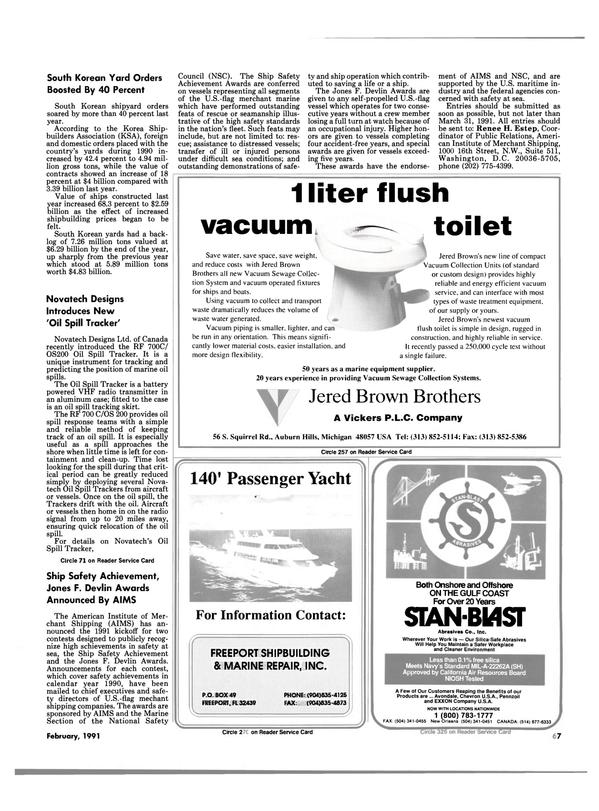 Maritime Reporter Magazine, page 67,  Feb 1991