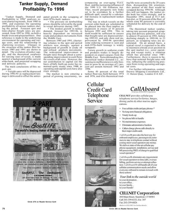Maritime Reporter Magazine, page 8,  Mar 1992 Cellular Credit Card Telephone Service
