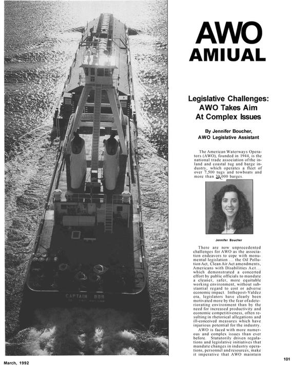 Maritime Reporter Magazine, page 11,  Mar 1992