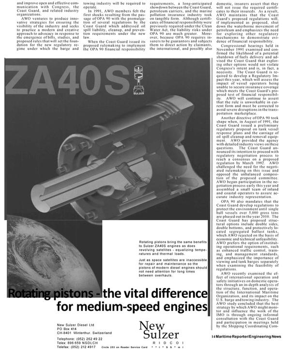 Maritime Reporter Magazine, page 12,  Mar 1992