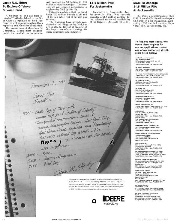Maritime Reporter Magazine, page 32,  Mar 1992 Caribbean