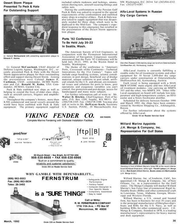 Maritime Reporter Magazine, page 35,  Mar 1992