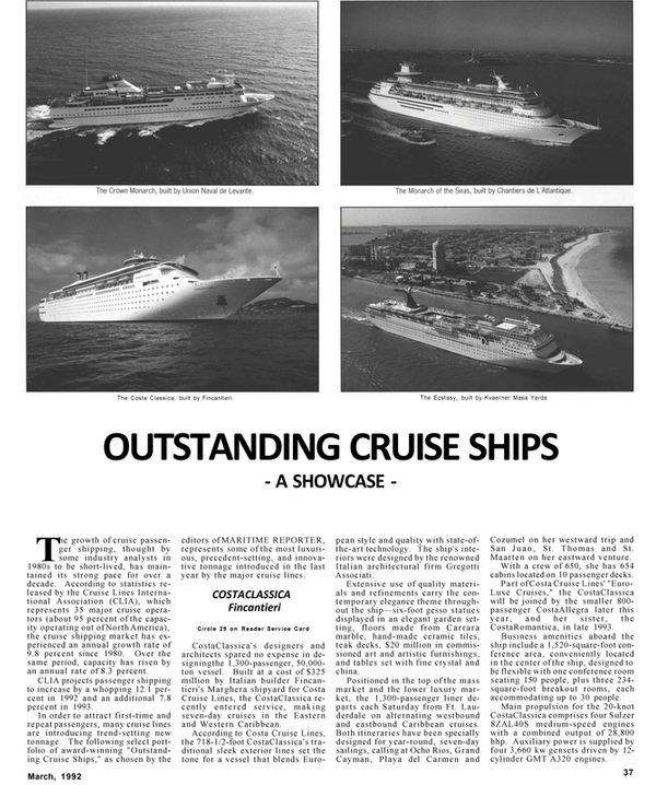 Maritime Reporter Magazine, page 37,  Mar 1992 western Caribbean