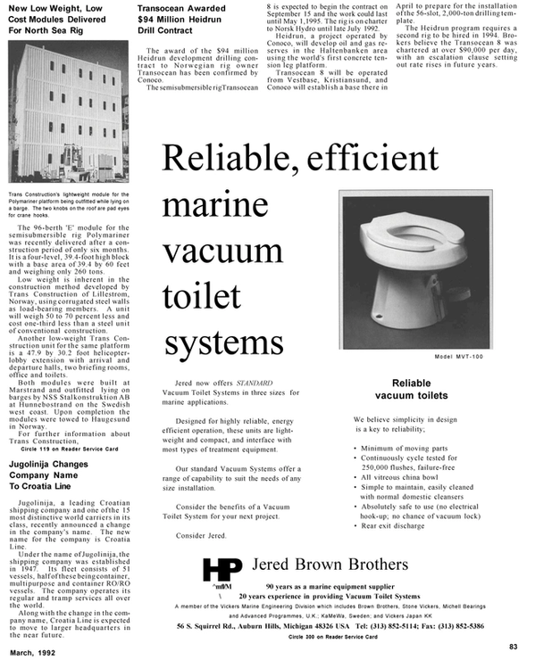 Maritime Reporter Magazine, page 59,  Mar 1992 Vickers Marine Engineering Division
