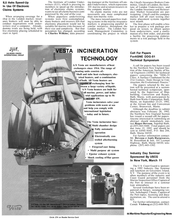 Maritime Reporter Magazine, page 6,  Mar 1992 Market Association