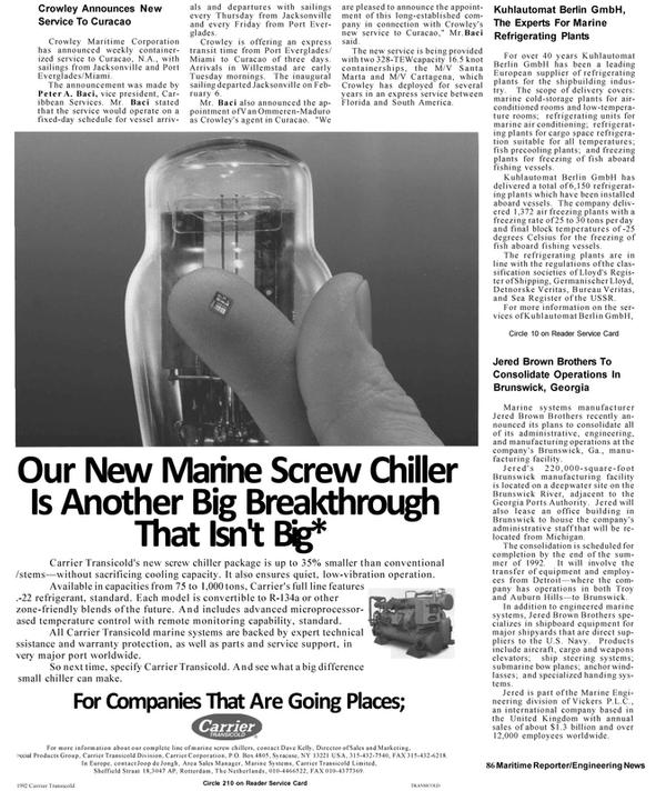 Maritime Reporter Magazine, page 82,  Mar 1992 Georgia
