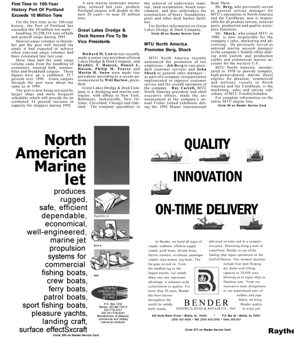 Maritime Reporter Magazine, page 87,  Mar 1992