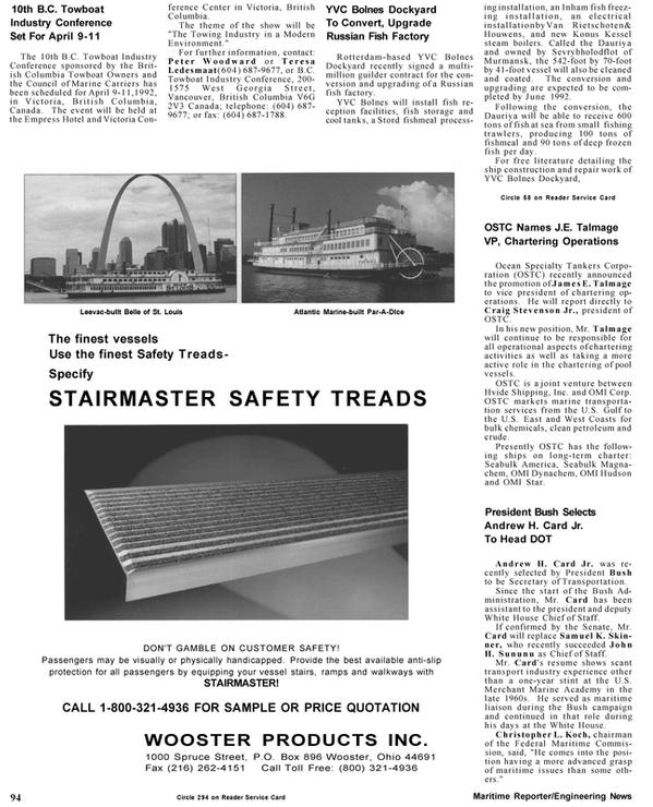 Maritime Reporter Magazine, page 96,  Mar 1992 Teresa Ledesmaat
