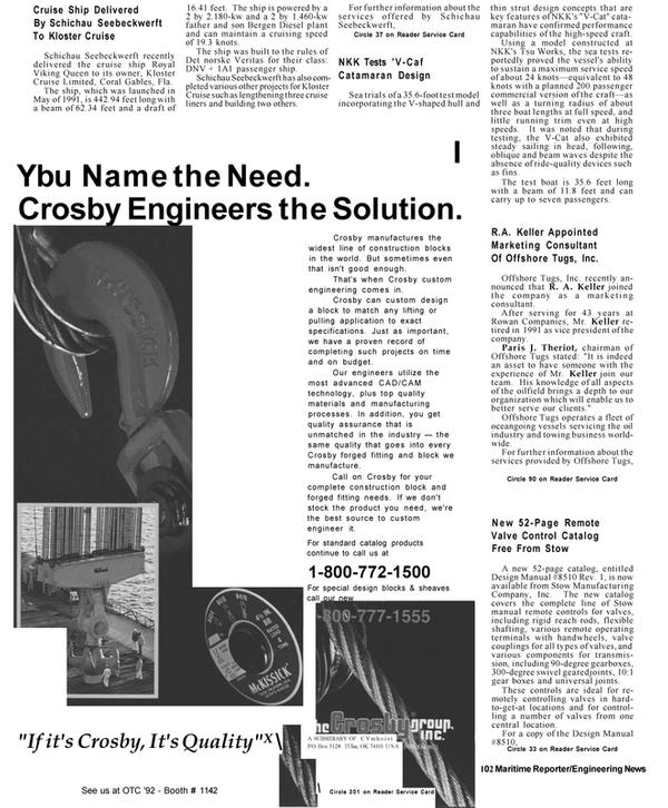 Maritime Reporter Magazine, page 16,  Apr 1992