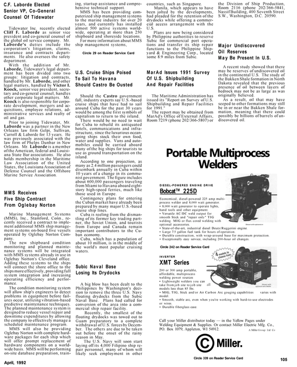 Maritime Reporter Magazine, page 31,  Apr 1992 Wisconsin
