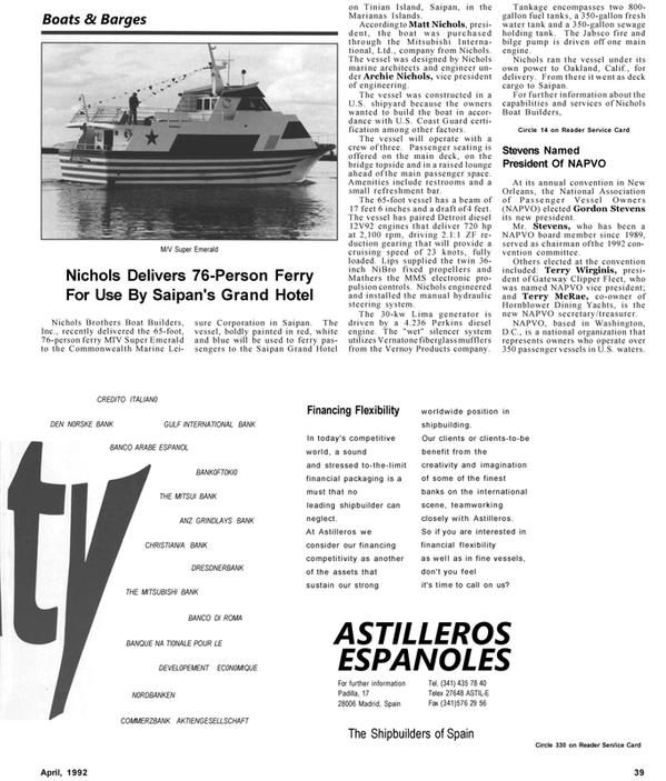 Maritime Reporter Magazine, page 41,  Apr 1992 Gateway Clipper Fleet