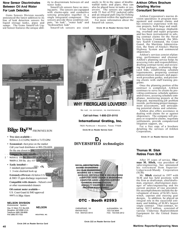 Maritime Reporter Magazine, page 42,  Apr 1992 New Sensor Discriminates Between Oil And Water For Leak Detection Gems Sensors Division