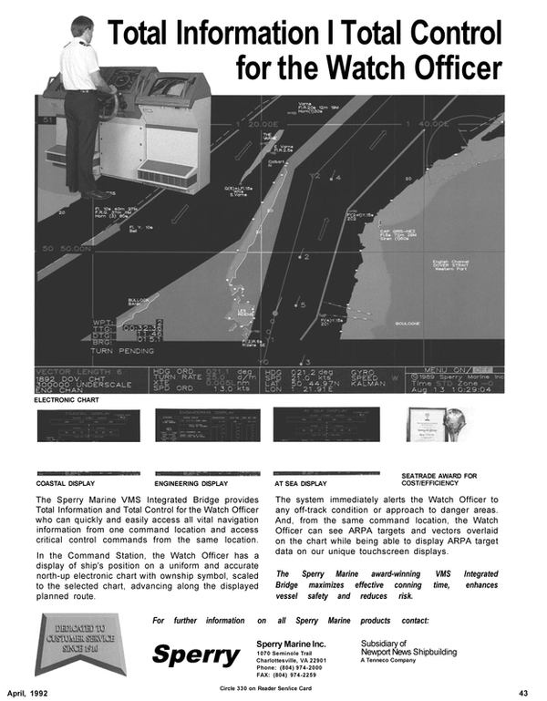 Maritime Reporter Magazine, page 45,  Apr 1992 Command Station