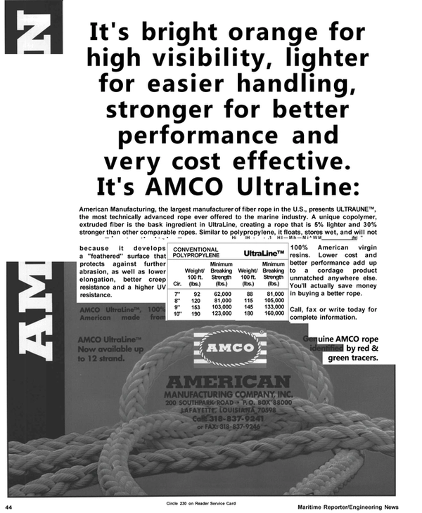 Maritime Reporter Magazine, page 46,  Apr 1992 American Manufacturing