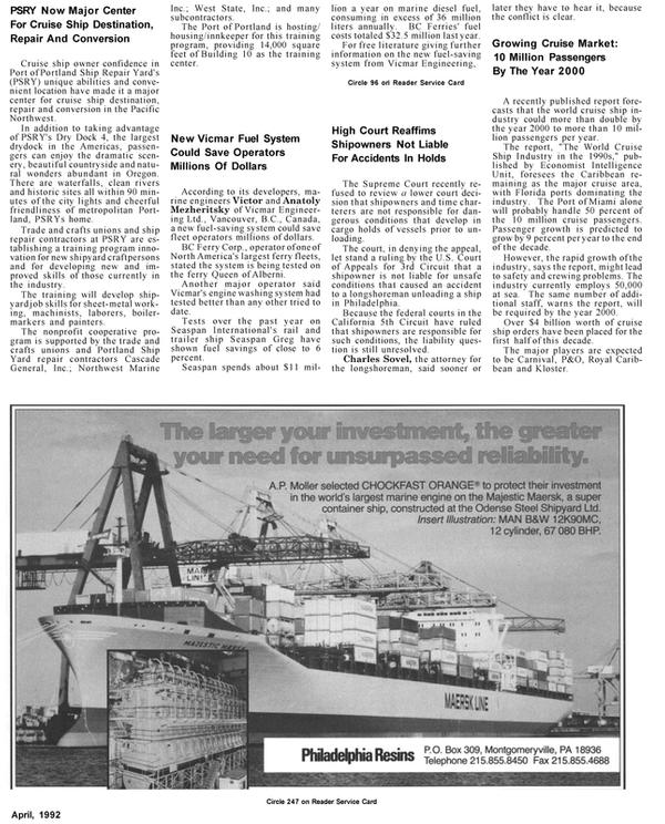Maritime Reporter Magazine, page 47,  Apr 1992