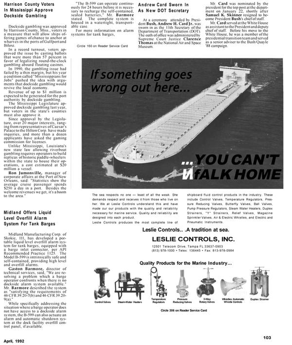 Maritime Reporter Magazine, page 60,  Apr 1992 Louisiana