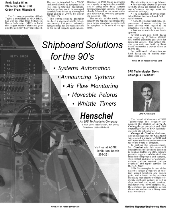 Maritime Reporter Magazine, page 6,  Apr 1992 Tacke Wins Planetary Gear Unit