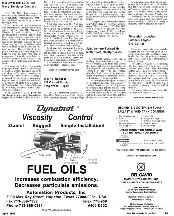 Maritime Reporter Magazine, page 78,  Apr 1992 Rhode Island