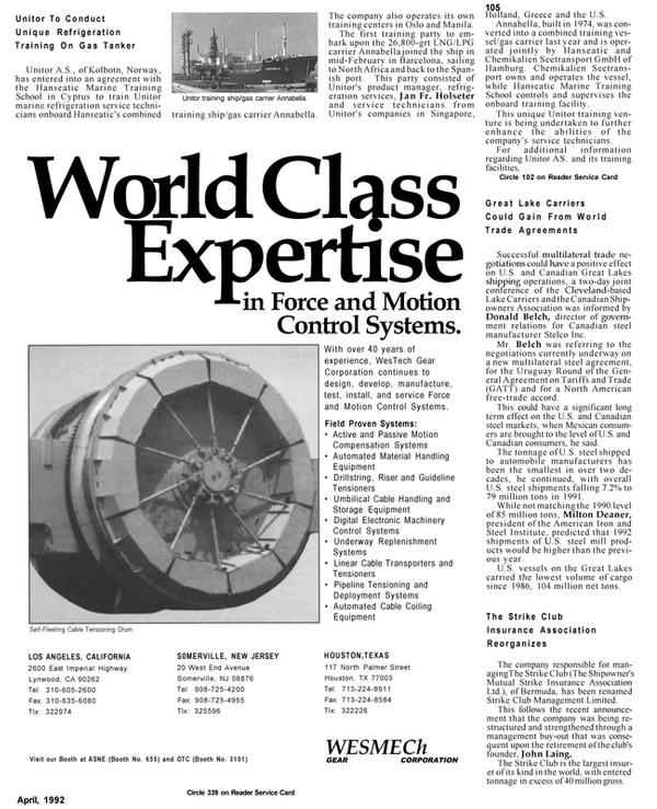 Maritime Reporter Magazine, page 80,  Apr 1992