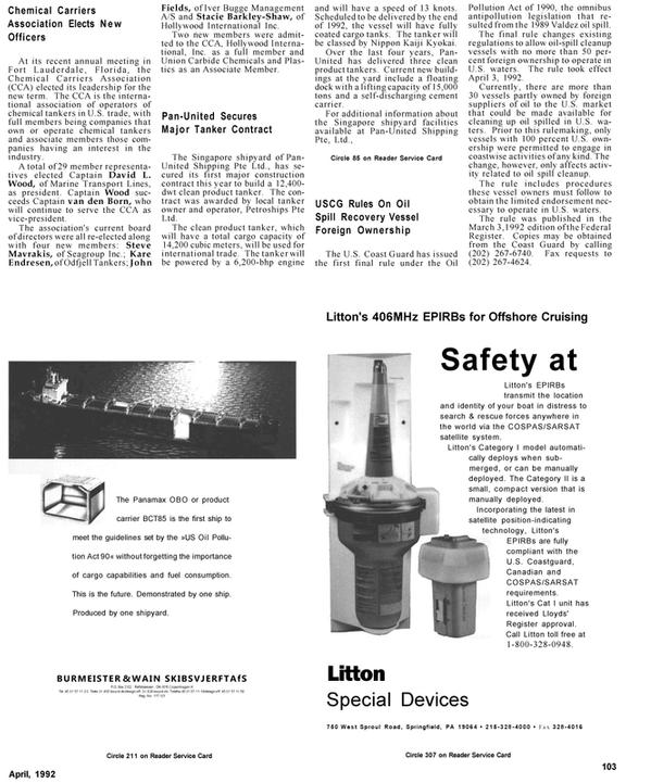 Maritime Reporter Magazine, page 82,  Apr 1992 Pennsylvania