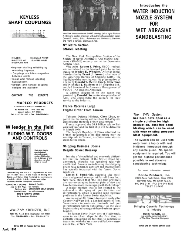 Maritime Reporter Magazine, page 84,  Apr 1992 New York Metro