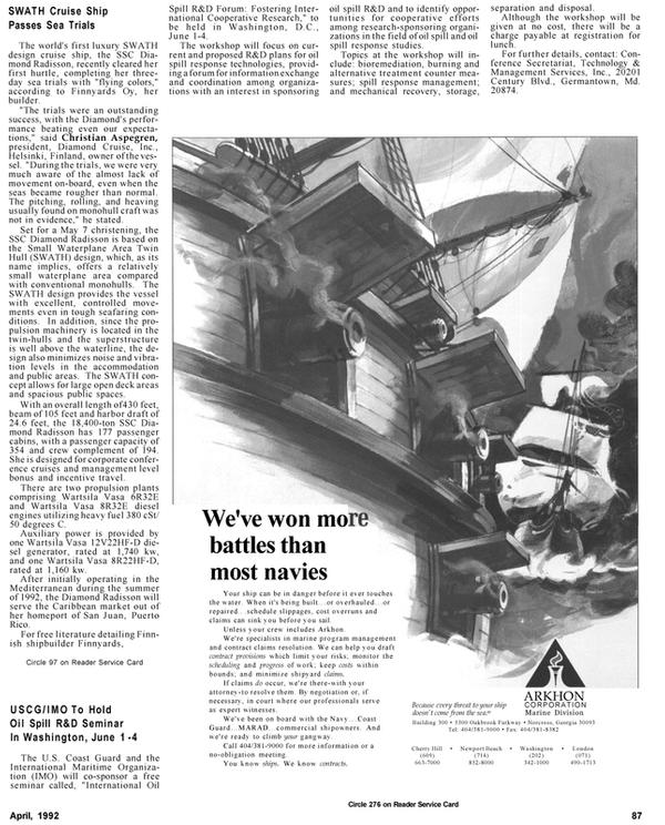 Maritime Reporter Magazine, page 90,  Apr 1992