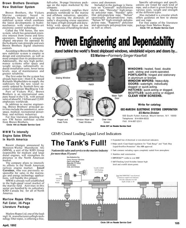 Maritime Reporter Magazine, page 92,  Apr 1992