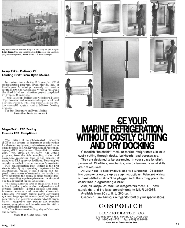 Maritime Reporter Magazine, page 11,  May 1992
