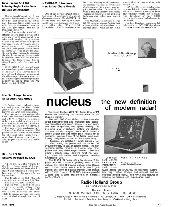 Maritime Reporter Magazine, page 13,  May 1992