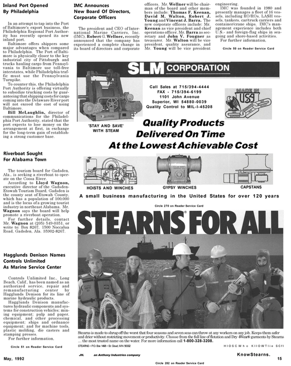 Maritime Reporter Magazine, page 15,  May 1992
