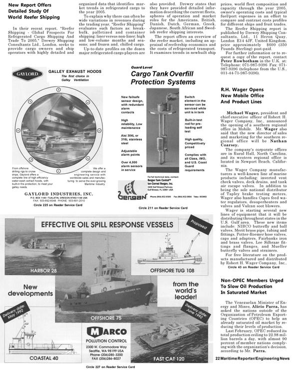 Maritime Reporter Magazine, page 20,  May 1992 Oregon