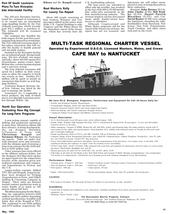 Maritime Reporter Magazine, page 41,  May 1992 Maryland