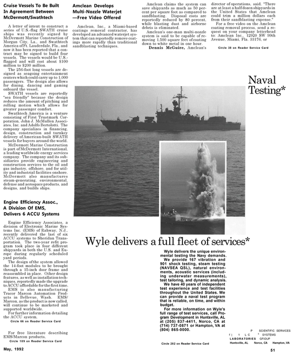 Maritime Reporter Magazine, page 53,  May 1992