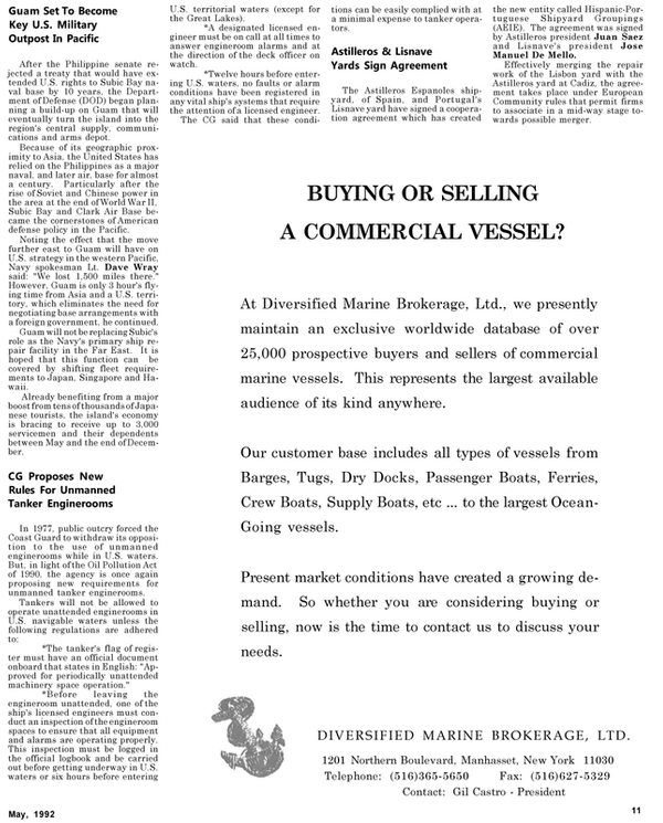 Maritime Reporter Magazine, page 55,  May 1992