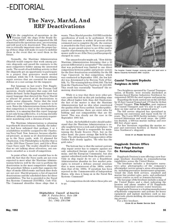 Maritime Reporter Magazine, page 57,  May 1992 Tim Schaffer