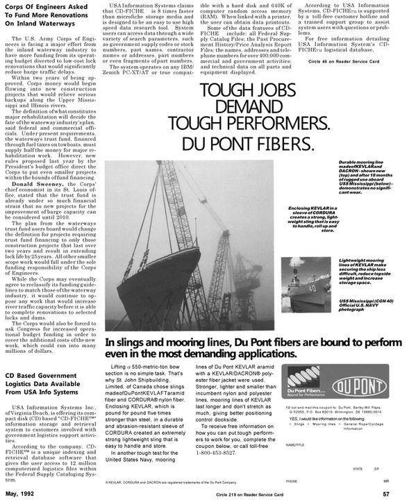 Maritime Reporter Magazine, page 61,  May 1992