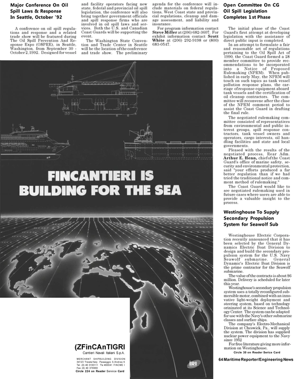 Maritime Reporter Magazine, page 62,  May 1992
